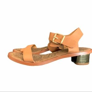 Sam Edelman Trina Leather Sandals 9 Gold Heel